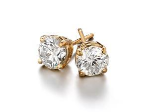 Sight Holder Diamonds 2.00 CTW Created Diamond Studs Earring Set - In 14K Yellow Gold