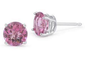 2.00CTW Created Pink Sapphire Earrings Set In 14kt Gold