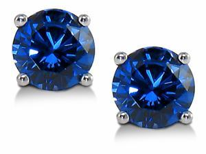 Sight Holder Diamonds 2.00ctw Lab Created Sapphire Stud Earrings Set In Solid 14kt Gold