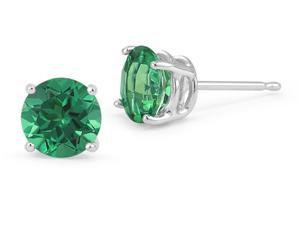 2.00ctw Lab Created Emerald Stud Earrings Set In Solid 14kt Gold