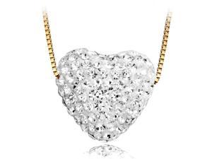 "Swarovski Crystal ""Heart"" Pave Crystal Pendant Necklace W/ 18Kt Gold  Plated Chain"