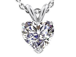 SightHolderDiamonds 2.00CTW Created Heart Shape Diamond Pendant in Solid 14K White Gold