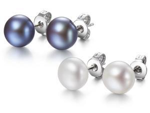 2 Pairs Genuine Freshwater Grey & White Pearl Earrings In Sterling Silver