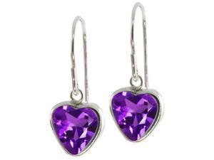 2.00ctw Heart-Shaped Amethyst Drop Earrings in Sterling Silver