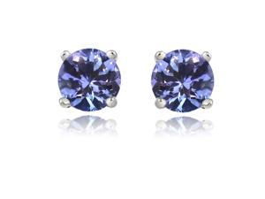 Sight Holder Diamonds 2.50CTW Created Tanzanite Sterling Silver Earrings Set