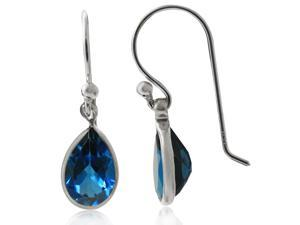 3.00ctw Pear-Shaped London Blue Topaz Drop Earrings in Solid 14KT Gold