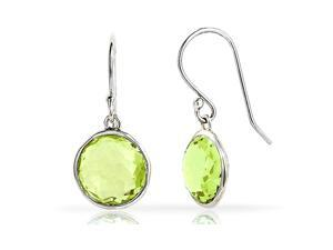 2.00CTW Genuine Peridot Drop Earrings In Sterling Silver