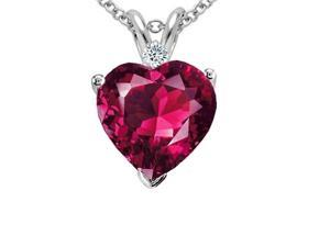 3.00ctw Genuine Diamond & Ruby Pendant Set In Sterling Silver