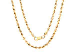 14K Yellow Gold Plated 5mm English Rope Chain Necklace  24""