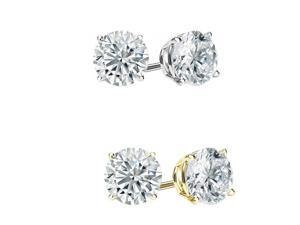 14KT  Gold Lab Grown Sapphire Stud Earrings 2.00ctw (6mm)