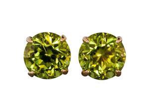 2.00CTW Genuine Peridot Earrings Set In Solid 14Kt Gold