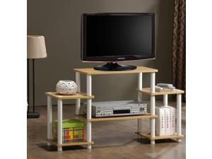 Furinno 11257BE/WH Turn n Tube No-Tool Entertainment Center TV Stand (Beech/White)