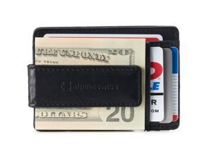 Alpine Swiss Genuine Leather Money Clip front pocket wallet with magnet clip and card ID Case