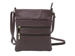 Genuine Leather Organizer Purse Mini Handbag Travel Bag Zippered Shoulder Purse