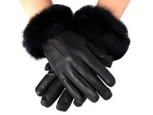 Alpine Swiss Women's Dressy Gloves Genuine Leather Thermal Lining Rabbit Fur Cuff