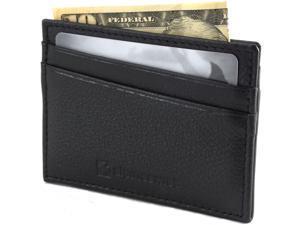 Alpine Swiss RFID Blocking Mens Leather Wallet Slim Front Pocket Flat Card Case