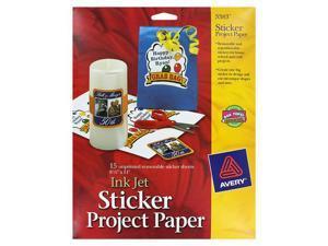 Avery Printable Sticker Paper, Matte White, Inkjet, 15 Sheets (3383)