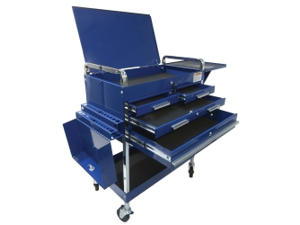 Deluxe Service Cart With Locking Top, 4 Drawers and Extra Storage - Blue