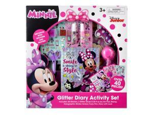 Disney Minnie Mouse Pink Glitter Diary Activity Stationery Set in Large Gift Box