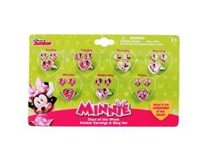 21pc Disney Minnie Mouse Girls Rings and Earrings Set Days of the Week  - 6 Pack