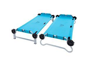 Disc-O-Bed Youth Benchable Camping Cot with Organizers, Teal Blue -