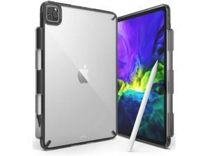 Ringke Fusion Compatible with iPad Pro 11-inch (2021/2020/2018) Case, Transparent Shockproof Cover with Overcharge Preventing Pencil Holder - Smoke Black