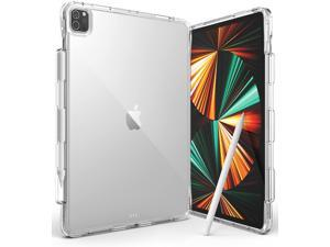 Ringke Fusion Plus Compatible with iPad Pro 12.9-inch (2021/2020/2018) Case, Transparent Shockproof Cover with Overcharge Preventing Pencil Holder - Clear