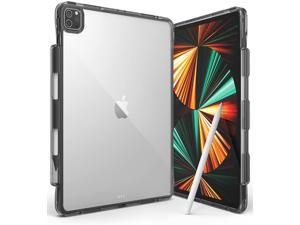 Ringke Fusion Plus Compatible with iPad Pro 12.9-inch (2021/2020/2018) Case, Transparent Shockproof Cover with Overcharge Preventing Pencil Holder - Smoke Black