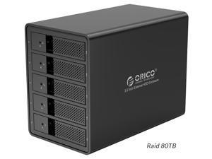 [With RAID Function] ORICO Aluminum 5 Bay 3.5 inch Enclosure SuperSpeed USB 3.0 to SATA Hard Drive HDD SSD Case RAID 0/1/3/5/10/Combine/Clear RAID Models for Mac OS Windows PC Laptop  5*16TB Max