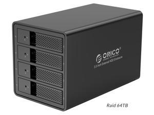 [4x16TB Drive Max]ORICO Aluminum 4 bay 3.5 inch USB3.0 to SATA HDD Docking Station Enclosure Support RAID 0/ 1/ 3/ 5/ 10/ Combine/ Clear Mode for PC Laptop Mac OS [with RAID Function] -Black