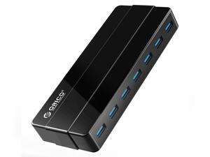 ORICO Compact 7 Ports USB 3.0 HUB with 12V Power Adapter VL812 Controller Transfer Rates Up to 5Gbps for Windows, Mac OS, Linux and Above - Black