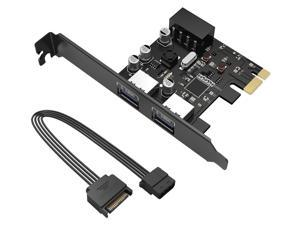 PCI-E Expansion Card Adapter, ORICO 2 Ports USB3.0 PCI Express Card Compact for Mac OS 10.8.2 above, Windows, Visa and Linux With 4PIN to 15 PIN Power Cable (2 Ports Card with Power Cable)  (PME-2U)