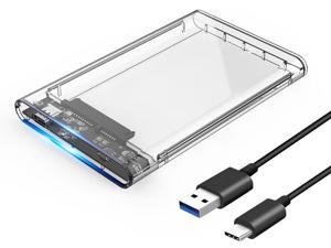 ORICO Type-C Gen 1 USB 3.1 2.5 inch External Hard Drive Disk Tool Free Enclosure case  for 7mm-9.5mm SATA HDD SSD Up to 5Gbps - Transparent (2139C3)