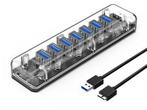 ORICO Creative Transparent HUB  7 Ports USB3.0 Super Speed with Reserced Micro USB3.0 External 5V Power Supply Support OTG Function 100cm USB Cable Optimised  for PC Windows Linux Mac OS