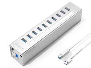 ORICO Aluminum 10Ports USB 3.0 HUB with 3.3Ft. USB 3.0 Data Cable and 12V/3A Power Supply for Macbook,PC,Laptops (HUB is not a Charger,Data transfer Only)- Silver (A3H10-V1-US)