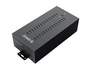 ORICO Industrial USB Hub, 300W Powered Data Hub, 30 Port USB 2.0 Splitter, Full Metal Case, Wall Mountable Support Phone/Tablet Charging, Refurbishing and Brush, Batch Data Transfer