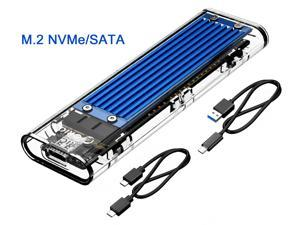 ORICO Transparent M.2 NVME NGFF SATA SSD Enclosure Support Dual Protocol M.2 NVME+NGFF SATA SSD Disk For USB 3.1 Gen2 Type-C PCIE M Key B+M Key USB C 10Gbps Transfer Rate Solid Drive Enclosure