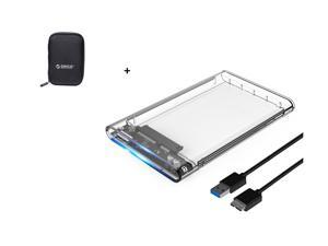 ORICO 2.5 inch Portable External Hard Drive Protection Bag Dual Buffer Layer HDD Protector Case with UASP SATA III Transparent Aluminum 4TB USB 3.0 External Hard Drive Disk Enclosure High-Speed Case
