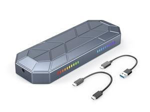 Orico RGB Lighting M.2 NVMe SSD External Portable Enclosure Case, USB3.1 Gen2 Type-C 10Gbps USB A to C and C to C Cables, Fits PCI-e 2230/2242/2260/2280  M-Key/B+M-Key Support Up to 2TB