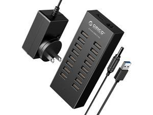 Powered USB Hub, ORICO 16 Ports USB 2.0 Hub with Detached 3.3' Data Cable, Power Adapter 12V 2.5A, Powered USB 2.0 Splitter for  Laptop and Desktop, Keyboard, Mouse and More