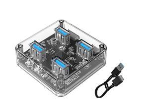 ORICO Creative Transparent HUB  4 Ports USB3.0 Super Speed with Reserced Micro USB3.0 External 5V Power Supply Support OTG Function 100cm USB Cable Optimised  for PC Windows Linux Mac OS