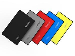 ORICO 5Pcs 2.5 inch USB 3.0 to SATA External Hard Drive Enclosure 5 Colours Black Sliver Yellow Red Blue for 7mm/9.5mm Hard Drive Disk Tool Free [Upgraded Version, UASP Support]