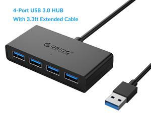 ORICO 4-Port USB 3.0 Hub, Ultra-Slim Data USB Hub with 3.3ft Extended Cable & Reserved Micro USB DC 5V Power Port for Windows,XP, Vista ,Windows, Linux and Mac Desktop or Laptop -Black