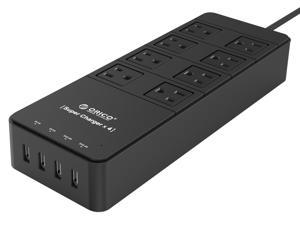 ORICO 8 Outlets Power Strip with Surge Protector, Built-in 5 Ft. Cord, 4 USB Intelligence Charging Ports (2*5V2.4A + 2*5V1A) for iPhone, iPad, Galaxy S6 / S6 Edge, Nexus and More - Black TPC-8A4U-BK
