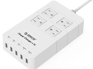 ORICO 4 Outlets Surge Protector with 2 x 5V 2.4A, 3 x 5V 1A USB Super Charging Ports for iPhone, iPad, Samsung Galaxy S6 / S6 Edge, Nexus, HTC M9, Motorola, LG and More (HPC-4A5U) White