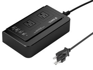 ORICO Portable 2 Outlet Travel Power Strip with 4 USB Ports Charging Station 5 Ft Cord Small Size for Packing Power Saving for Computer Desk Under Counter - Black