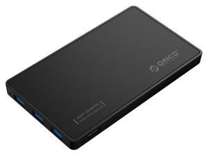 [Tool-less Design with 3 USB3.0 Ports] ORICO 2.5 inch USB3.0 SATA External Hard Drive Disk Enclosure Case for 9.5mm 7mm SATA/HDD/SSD with 3 Ports USB 3.0 HUB UASP Supported  5V2A Power Adapter