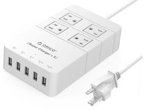 ORICO 4 Outlet Power Strip with Surge Protector, 5 USB Intelligence Charging Ports (3 x 5V1A,2 x 5V2.4A) for iPhone 7/ 7Puls/6S/6S P/5SE/iPad/LG/Samsung/HTC - HPC-4A5U White