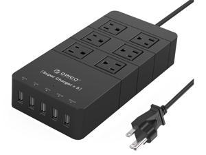 ORICO 40W 6-Outlet Power Strip with Surge Protector, 5 USB Intelligence Charging Ports for  iPhone7 /7Puls/ 6S/6S P/5SE/iPad/LG/Samsung/HTC and More - Black - HPC-6A5U