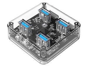 [Transparent USB3.0 HUB] ORICO 4 Ports 5Gbps USB3.0 Transparent HUB  External Power Supply with Rubber Anti-skid Pad Reserced Micro USB3.0 Port Support OTG for Desktop Laptop -Transparent